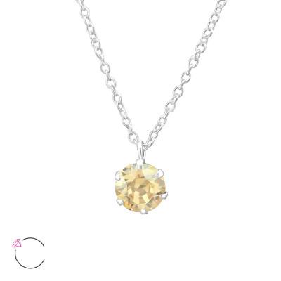 Silver Round Necklace with Genuine European Crystals