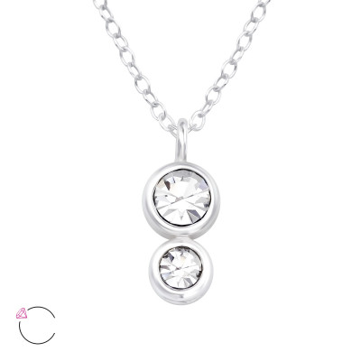 Silver Double Round Necklace with Genuine European Crystals