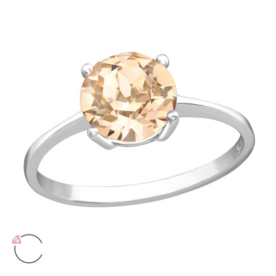 Silver Solitaire Ring with Genuine European Crystals