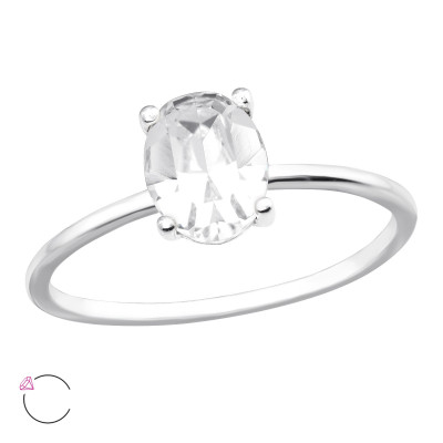 Silver Ring with Oval Genuine European Crystal