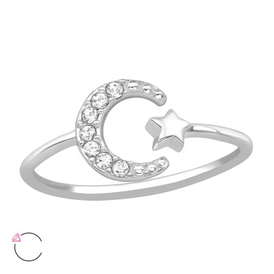 Silver Moon and Star Ring with Genuine European Crystals