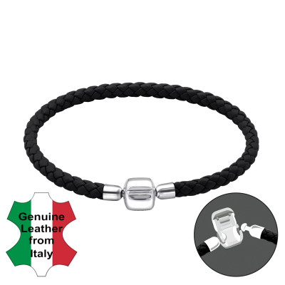 Leather Bracelet with Silver Lock Bead