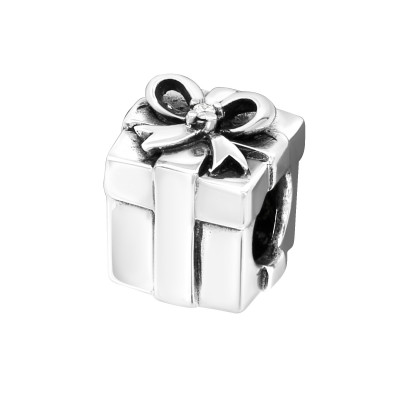 Silver Gift Present Bead with Cubic Zirconia