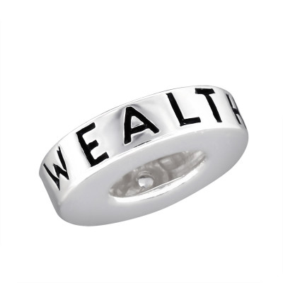 Wealthy Sterling Silver Bead with Cubic Zirconia