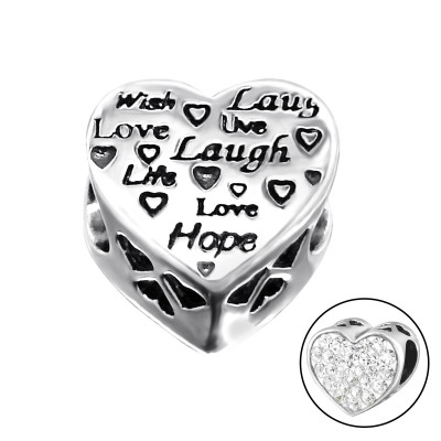 Silver Heart Love Bead with Crystal