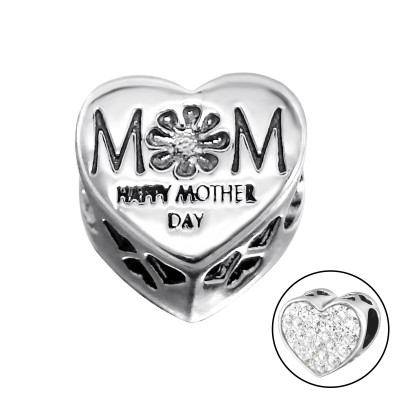 Silver Heart Mom Bead with Crystal