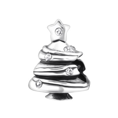 Silver Christmas Tree Bead with Cubic Zirconia