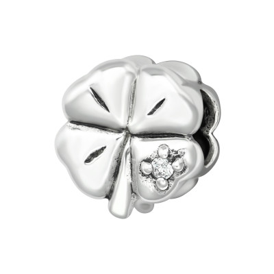 Silver Lucky Clover Bead with Cubic Zirconia
