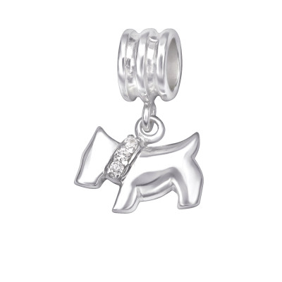 Silver Hanging Dog Bead with Cubic Zirconia