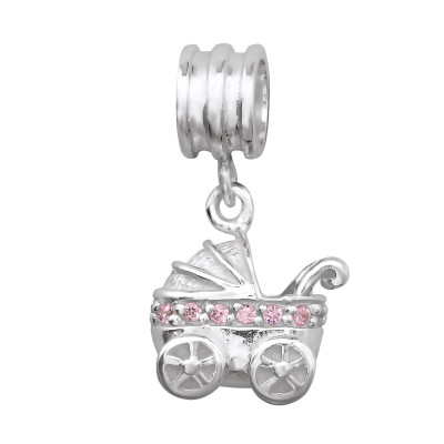 Silver Hanging Baby Carriage Bead with Cubic Zirconia