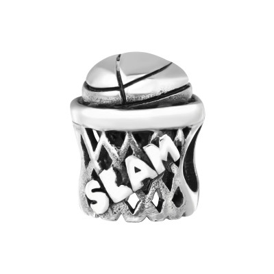 Silver Basketball Net Bead