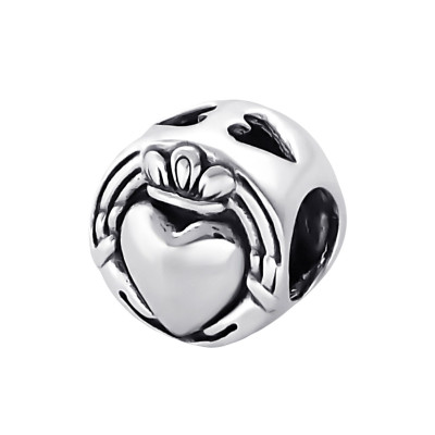 Silver Crowned Heart Bead