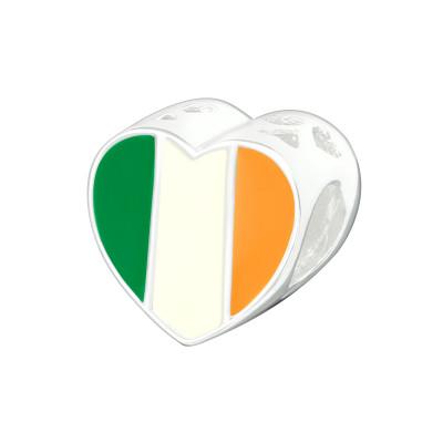 Silver Irish Flag Bead with Epoxy
