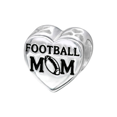 Silver Heart Football Mom Bead