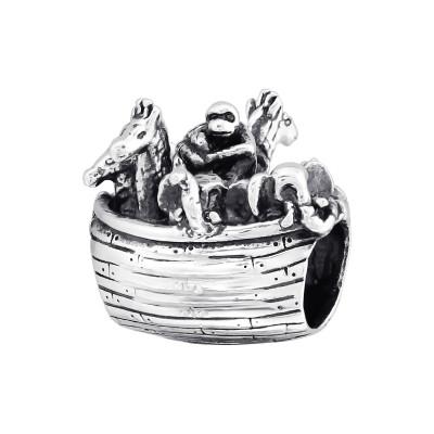 Silver Animal Boat Bead