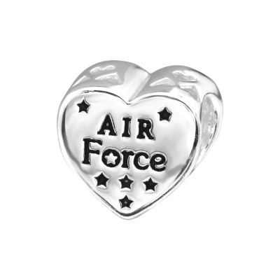 Silver USA AIR Force Bead with Epoxy