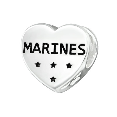 Silver Heart Marines Bead with Epoxy