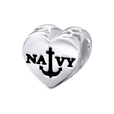 Silver Heart Navy Bead with Epoxy