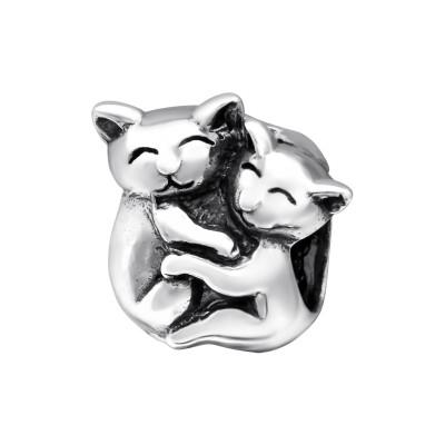 Silver Hugging Cats Bead