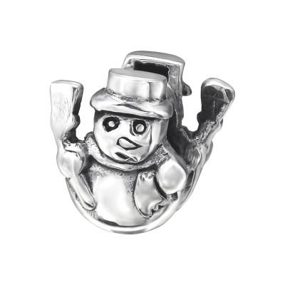 Silver Snowman Bead