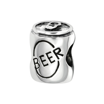 Silver Beer Can Bead