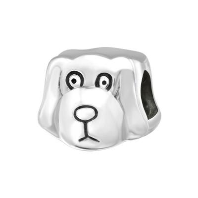 Silver Dog Bead