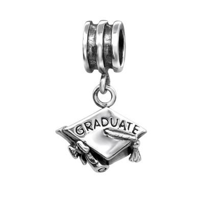 Silver Graduation Hat Bead