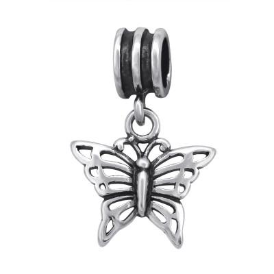 Silver Butterfly Bead