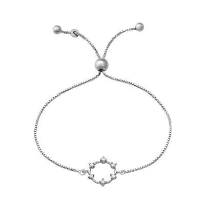 Silver Wreath Adjustable Bracelet with Cubic Zirconia