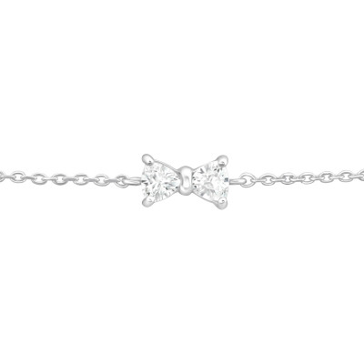 Silver Bow Bracelet with Cubic Zirconia