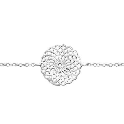 Silver Geometric Flower Art Bracelet