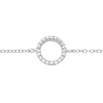 Silver Circle Bracelet with Cubic Zirconia