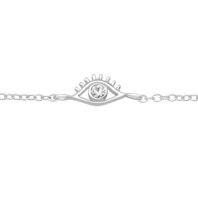 Silver Evil Eye Bracelet with Crystal