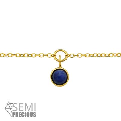 Silver Round Bracelet with Semi Precious