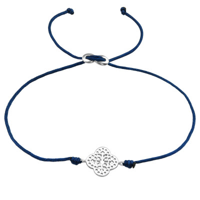 Silver Flower Adjustable Corded Bracelet