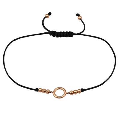 Silver Circle Adjustable Corded Bracelet