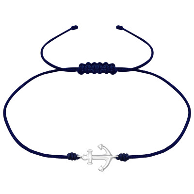 Silver Anchor Adjustable Corded Bracelet