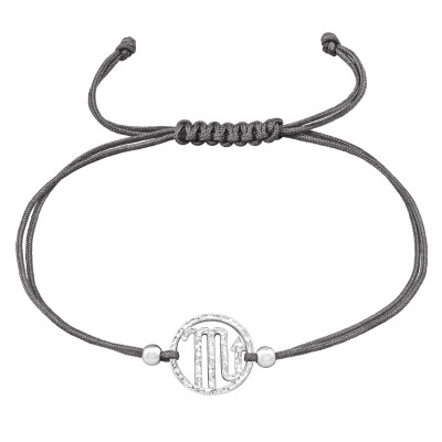 Silver Scorpio Zodiac Sign Adjustable Corded Bracelet