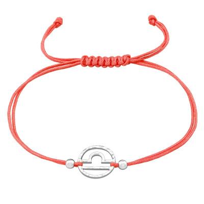 Silver Libra Zodiac Sign Adjustable Corded Bracelet