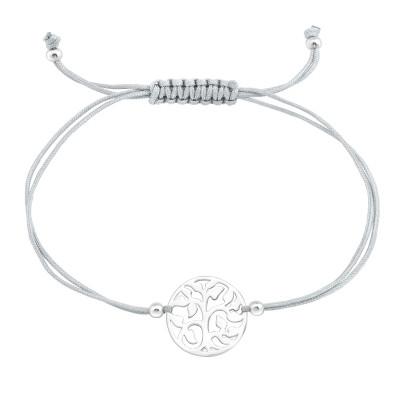 Silver Tree Of Life Adjustable Corded Bracelet