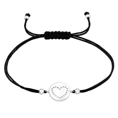 Silver Heart Adjustable Corded Bracelet