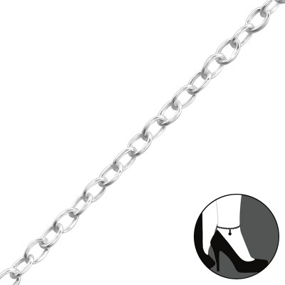 25cm Silver Cable Chain Anklet with 3cm Extension Included