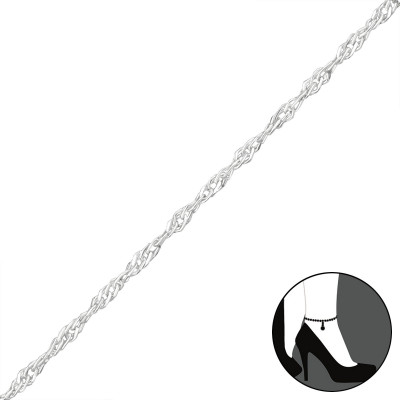 25cm Silver Twisted Chain Anklet with 3cm Extension Included