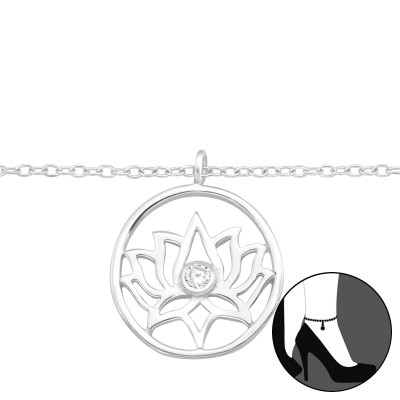 Silver Lotus Anklet with Cubic Zirconia