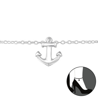 Silver Anchor Anklet