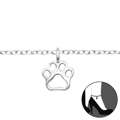 Silver Paw Print Anklet