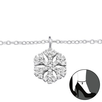 Silver Snowflake Anklet with Cubic Zirconia