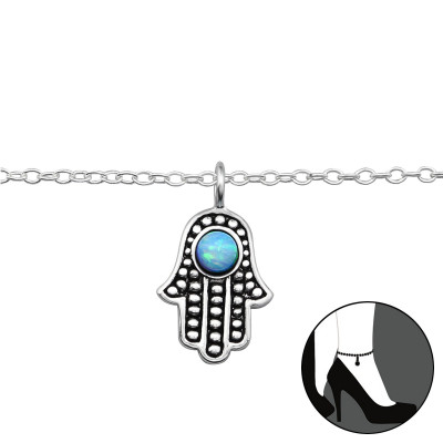 Silver Hamsa Anklet with Opal