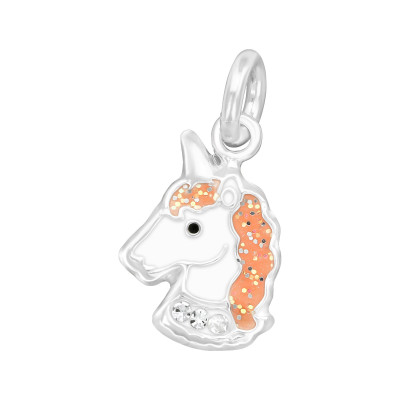 Silver Unicorn Charm with Split ring with Crystal and Epoxy