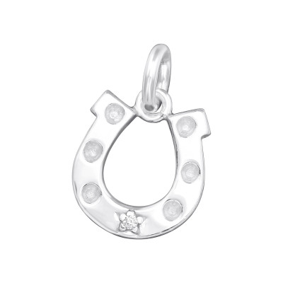 Silver Horseshoe Charm with Split ring with Cubic Zirconia